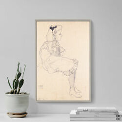 Egon Schiele - Sitting Girl With A Loop Of Hair 1909 Poster Painting Art Print