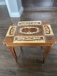 Italian Inlaid Wood Musical Music Jewelry Box Sew Table Lador Works S. Lucia