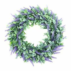 Lavender Wreath For Front Door Forwlant 18 Artificial Farmhouse Wreaths For ...