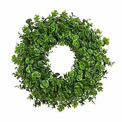 Boxwood Wreath For Front Door 17 Artificial Green Farmhouse Wreaths For Wall...