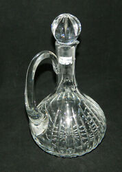 Crystal Cut Glass Wine Decanter Handle And Stopper Ribbed 10 3/4 T
