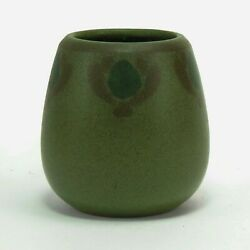 Marblehead Pottery Unusual Decorated Arts And Crafts Matte Green Vase Peacock