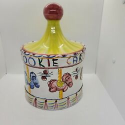 Vintage 1988 Italian Ceramic Pottery Hand Painted Carousel Cookie Jar Canister