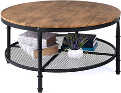 Best Choice Products 2-tier 35.5in Round Industrial Coffee Table, Rustic Steel A