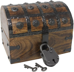Nautical Cove Pirate Treasure Chest With Iron Lock And Skeleton Key - Storage An
