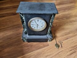 Antique French Slate And Marble Mantel Clock