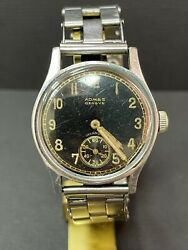 Vintage Military Admes Geneve Hand Wind Movement Ss Watches Bracelet R2