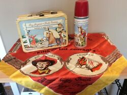 Vintage Roy Rogers And Dale Evans Double R Bar Ranch Lunchbox/thermos/silk Scarf
