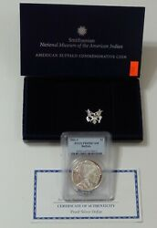 2001 P Buffalo Proof Silver Dollar  Pcgs Pr69 Dcam With Us Mint Box And Coa
