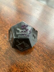 Antique Dodecahedron Black Crystal Seal With Signs Of Zodiac Russia Xix C.