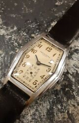Vintage Art Deco Imperial Watch Menand039s 1930s Rare Coffin Case All Stainless Steel