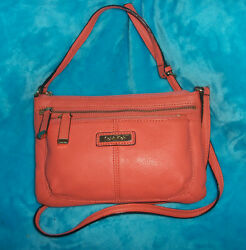 CALVIN KLIEN Pebble Leather Cross Body Bag SMALL 3 Outer Pockets $34.80