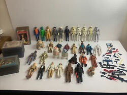 Vintage 1977- 1980 Star Wars Lot Of 33 Figures 37 Weapons And 92 Cards 77-83