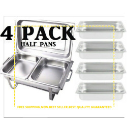 Half Inserts Only 4 Pack 2 1/2 Deep Stainless Steel Chafing Dish Chafer Pan