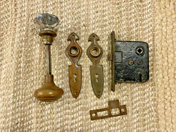 Antique Interior Mortise Lock, Glass And Brass Door Knobs And Door Knob Plates