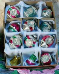 Vintage Christmas Ornaments Shiny Brite Double Indent Reflector Bell Red Box