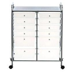 Rolling Storage Cart And Organizer With 12 Plastic Large Drawers Locking Wheels