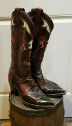 Texas Vintage Leather Inlay Cowboy Western Boots Eagle Men's 7.5 D