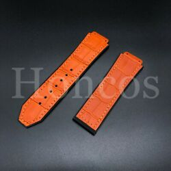 Rubber /alligator Grain Leather Replacement Watch Strap Band For Hublot Orange