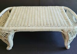 Shabby Chic Vintage White Wicker Bed Breakfast Lap Tray With 2 Side Pockets