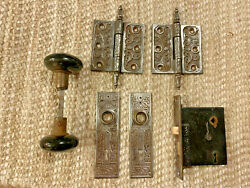 Antique Mortise Lock And Black Porcelain Door Knobs, Door Plates And Hinges
