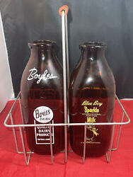 Vintage Amber Glass Milk Bottles In Wire Metal Carrier Dairy Farmhouse Décor