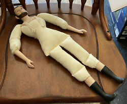 """Vintage Abraham Lincoln Doll/ceramic Head, Arms And Legs/stuffed Cloth Body/19"""""""
