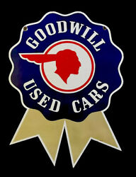 """Vintage Goodwill Used Cars Pontiac Red Indian 36"""" Porcelain Sign Car Oil Gas"""