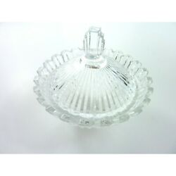 Art Deco Crystal Mikasa Marquette Ribbed Covered Candy Box Trinket Dish Bowl