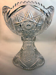 Large American Brilliant Period Cut Glass Punch Bowl And Stand