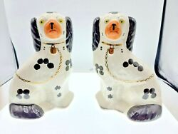 Antique Pair Of Staffordshire England Black And White Spaniel Dogs House Of Goebel