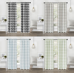 Modern Farmhouse 2 Pc Buffalo Check Plaid Curtains - Assorted Colors And Sizes