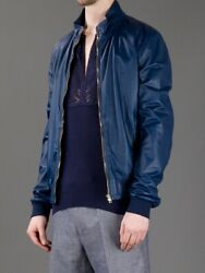 Leather Jacket - Blue - Size 56 - 2940 Retail - Rare Brand New With Tags