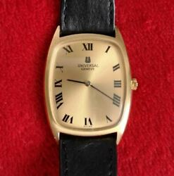 Universal Geneve Swiss Hand-wound Watch Square Dial Gold Antique 70and039s Jp Seller