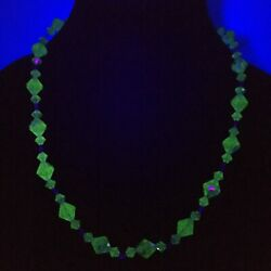 Uranium Glass Green Bicone Faceted Beads Crystal Cut Glass Art Deco Necklace