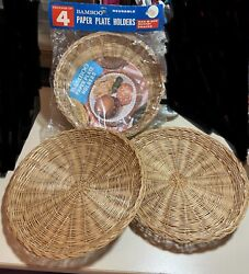 Lot Of 6 Vintage 70s Bamboo Wicker Rattan Paper Plate Holders New Sealed Camper