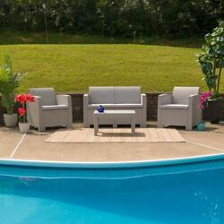 Modern 4pc Outdoor Faux Rattan Chair, Loveseat And Table Set In Light Gray