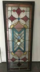 Antique Stained Leaded Glass Transom Window W/ Jewels