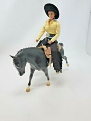 Vintage Breyer Black Horse with Rider in Western Gear and Saddle Very Nice