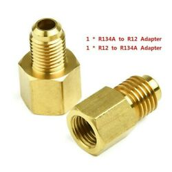 2pcs Gold Brass R12 To R134a Adapter 1/4 Female Flare 1/2 Acme Male Valve Kits