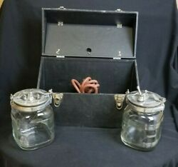 Rare Vintage Champion Embalming Bottles With Hoses And Case