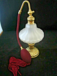 Vintage Glass Perfume Bottle Atomizer With Tassel Milk Glass 6 Maroon Tall Red