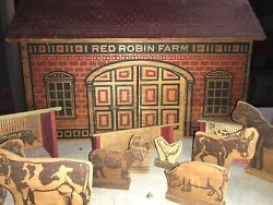 Rare 1890s Converse Red Robin Farm Large Barn Wooden And Accessories