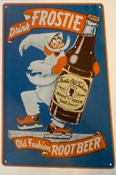 Frostie Root Beer Metal Tin Advertising Vintage Sign Old Fashion Hires Frosty