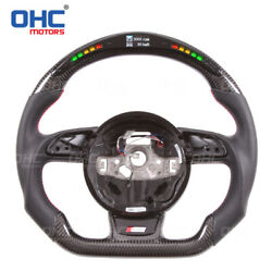 Carbon Fiber Led Steering Wheel For Audi A4 A5 S3 S4 S5 Rs4 Rs5 Rs6 Shift Light