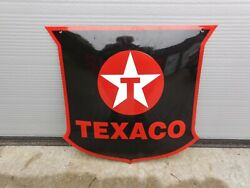 Texaco Gas And Oil Lubricants Production Company - Genuine Porcelain Enamel Sign