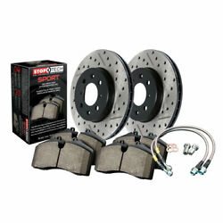 Stoptech Front Drilled And Slotted Brake Rotor Brake Line And Brake Pad Sold As Kit
