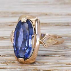 Vintage Soviet 5.00ct Synthetic Sapphire Solitaire Ring - 14k Gold - C 1980
