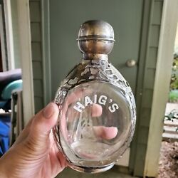 Antique Haigs Scotch Whiskey Pinch Bottle Ex Rare Sterling Silver  Best Invest