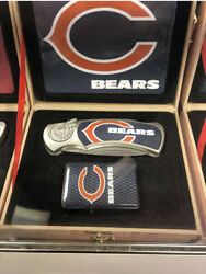 Nfl Football Teams Logos Chicago Bears Knife And Lighter Set Come With Gift Box!